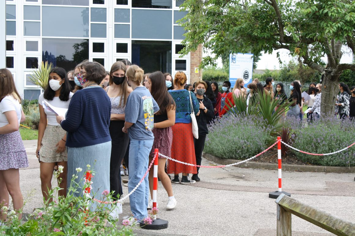Students gather to receive their GCSE results - August 2021
